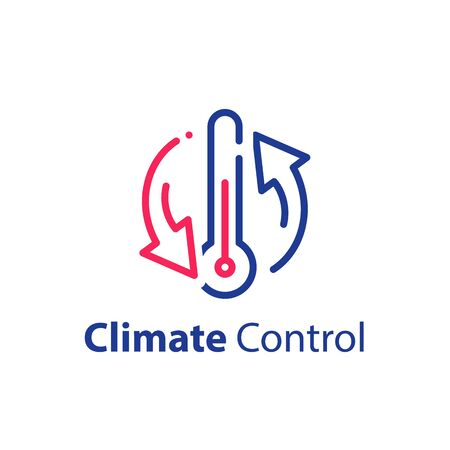 Climate control system, change temperature, air conditioning, cooling or heating, refrigerator storage, vector line icon