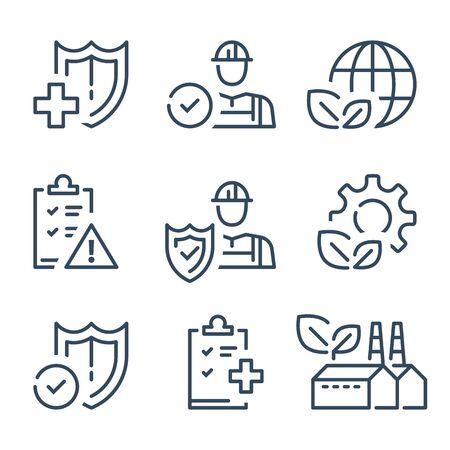HSE-concept, arbeidsveiligheid en gezondheidsadministratie, productiefabriek en milieu, medische verzekering, arbeidspreventieve instructies, werknemersbescherming, vectorlijnpictogram Vector Illustratie