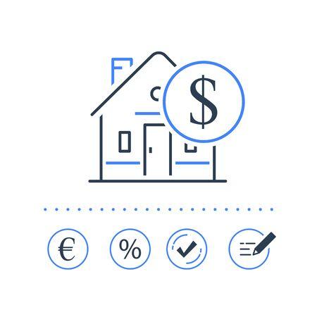 Refinanzierung von Hypothekendarlehen, niedriger Zinssatz, Hauskauf, Immobilienbesitzkonzept, Ratenzahlung, Häkchen genehmigen, Vektorsymbol, Liniensymbol Vektorgrafik