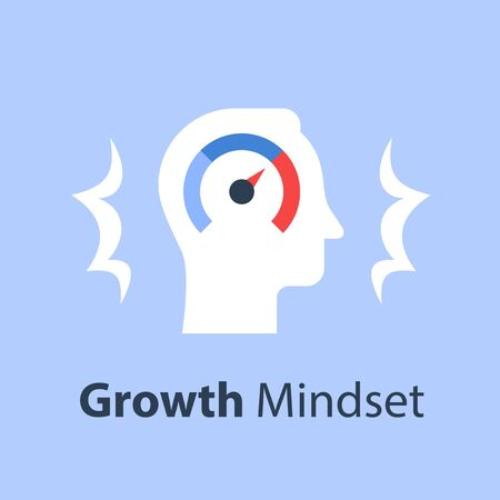 Growth mindset, potential development, fast self improvement, soft skills training, boost efficiency, fast decision making, vector flat illustration