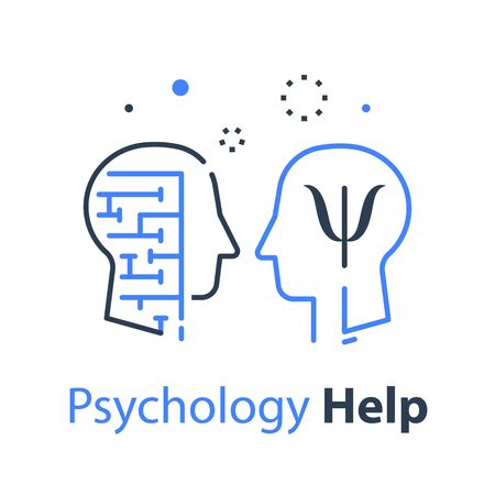 Human head profile and labyrinth, cognitive psychology or psychotherapy concept, mental health or disorder, critical thinking or logic game, memory training, vector line illustration