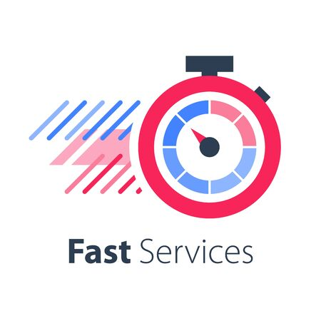 Red stopwatch in motion, last minute chance, limited offer, fast or express services, running time, timely delivery, vector flat icon