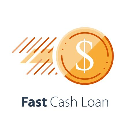 Fast cash loan, take credit, send money, instant payment, financial services, coin in motion, business and finance, vector flat icon