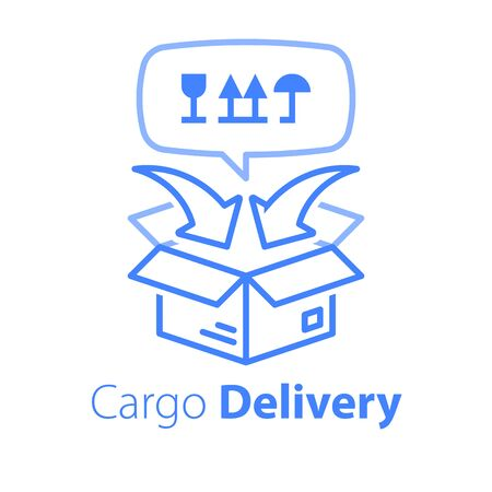 Cargo packing and distribution, linear design, relocation services, freight transportation, cargo shipment, delivery company, vector line icon