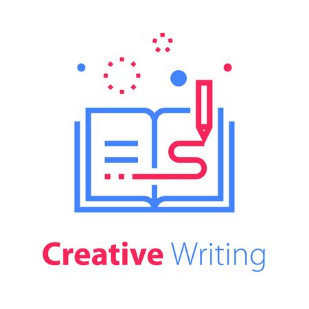 Open book, creative writing and storytelling, education concept, read summary, text review, vector line icon Ilustrace
