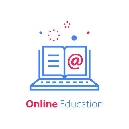 Online education, open book and laptop, internet resources, web library, distant learning, enroll on course, vector linear icon Иллюстрация