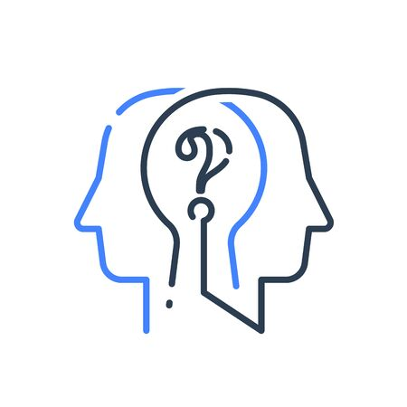 Human head profile and question mark line icon, cognitive psychology or psychiatry, self questioning, education concept, vector linear design Stockfoto - 133829355