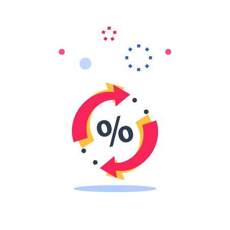 Loyalty program, discount coupon, limited offer, cheap price, percentage sign and circle arrows, vector flat icon