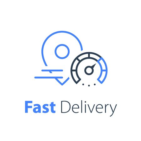Delivery concept, distribution services, logistics solution, transportation company, fast order shipping, express sending, vector thin line icon