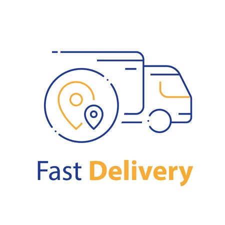 Truck delivery, transportation company, distribution service, logistics solution, load shipping, order shipment, send parcel, express relocation, vector thin line icon