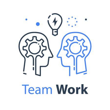 Teamarbeit, Kommunikation oder Verhandlung, gemeinsame Basis, gegenseitiges Verständnis, kreative Lösung, Konzept über den Tellerrand hinausdenken, Geschäftstraining oder Workshop, Vektorlinienillustration