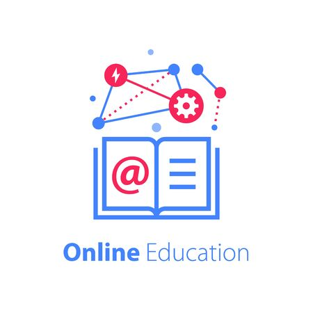 Online education, open book, internet resources, web library, distant learning, enroll on course, vector linear icon