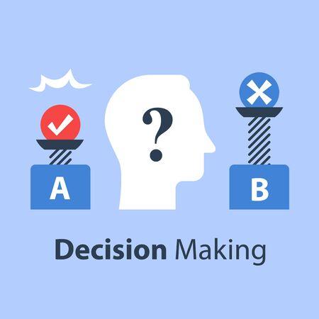 Entscheidungsfindung unter Unsicherheit, Vor- und Nachteile, für und gegen, überwiegen Skala, Voreingenommenheit und Denkweise, positiv oder negativ, zwischen zwei Seiten, Kontrolltest, flache Vektorgrafik Vektorgrafik