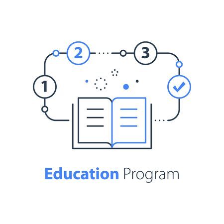 Education program, open book, simple learning plan, creative writing and storytelling, vector line icon Çizim