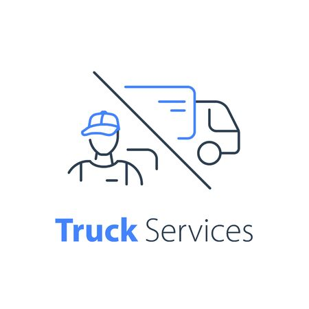 Courier delivery, truck transportation company, messenger service, order distribution, fast relocation, mover worker, vector thin line icon Illustration
