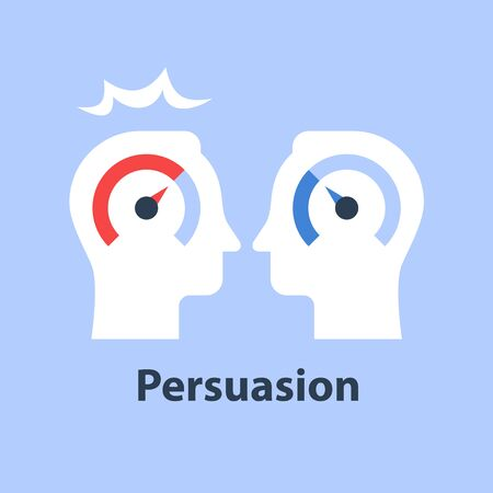 Coaching or mentoring, soft skill improvement, emotional intelligence, negotiation and persuasion, common ground or compromise, mutual agreement, vector flat illustration