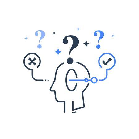 Entscheidungsfindung unter Unsicherheit, Wahlgabel, mentale Falle, logische Lösung, kritisches Denken, Psychologie oder Psychiatriekonzept, Vektorlinienillustration