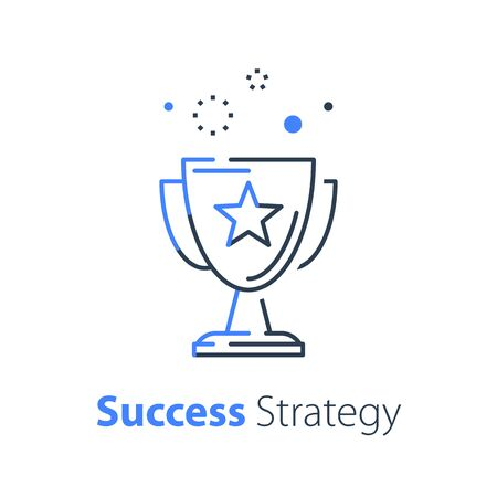 Winner cup, success strategy, goblet line icon, competition award ceremony, top performance, first place trophy, contest best result, leadership training, vector linear design