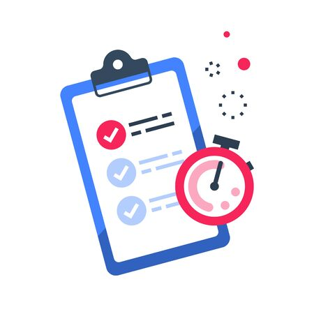 Fast services, check list and stopwatch, to do plan, procrastination and efficiency, project management, quick questionnaire, short survey, vector flat illustration