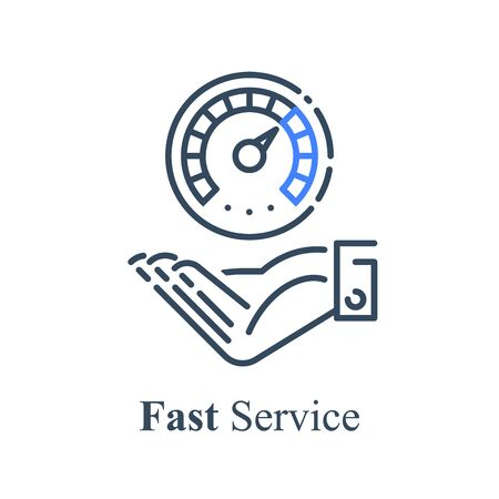 Hand and speedometer, express or urgent services, deadline and delay, vector icon, linear design