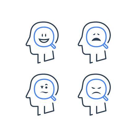 Stimmungsschwankungen, bipolare Störung, manische Depression, kognitive Psychologie oder Psychiatrie-Konzept, positives oder negatives Denken, psychische Gesundheit, Emotionskontrolle, Vektorlinien-Icon-Set
