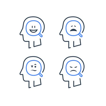 Mood swing, bipolar disorder, manic depression, cognitive psychology or psychiatry concept, positive or negative thinking, mental health, emotion control, vector line icon set Illustration