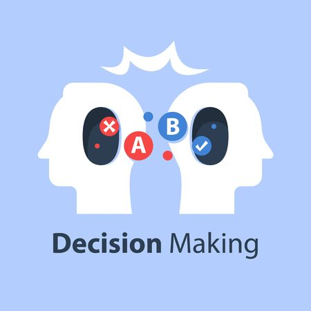 Psychology of choice, decision making, critical thinking, communication concept, emotional intelligence, vector flat illustration