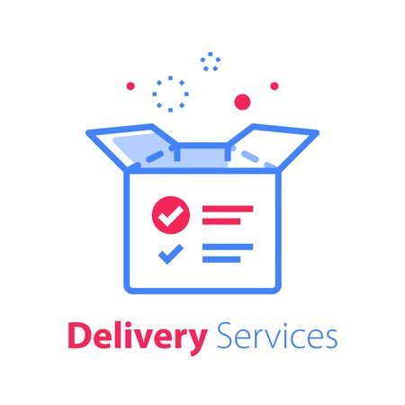 Delivery services, linear design, open box and check mark, shipment concept, collect parcel, product distribution, vector line icon