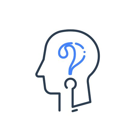 Human head profile and question mark line icon, cognitive psychology or psychiatry, self questioning, education concept, vector linear design