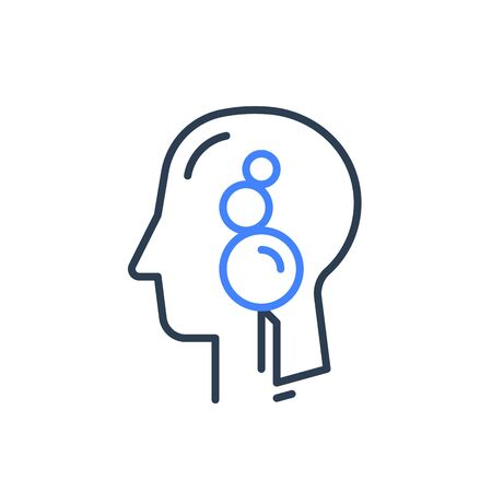 Human head profile line icon, cognitive psychology or psychiatry concept, mental balance, inner peace and harmony, calm mindset