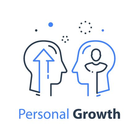 Two human head profiles, self improvement, leadership training or mentoring, pursuit of success, self esteem and confidence development, vector linear design