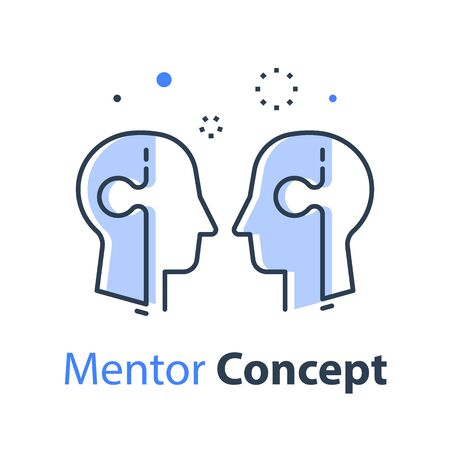 Mentor concept, two heads and jigsaw, team work, common ground, human resources, better communication, vector line illustration Illustration