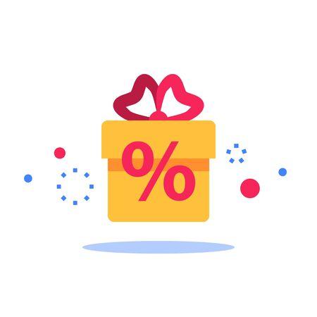 Surprise box, special reward, prize giveaway, loyalty present, percentage sign, incentive or perks, bonus program, creative idea, vector flat design illustration