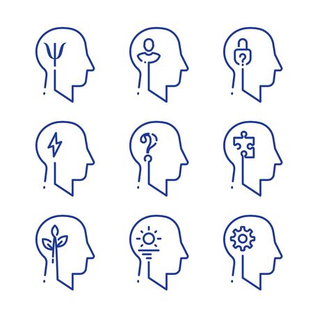 Human head profile line icon set, cognitive psychology or psychiatry. Intellect training, logic and memory improvement, decision making or behavior concept, vector linear design Çizim