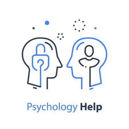 Human head profile and padlock, cognitive psychology or psychotherapy concept, mental health, vector line illustration