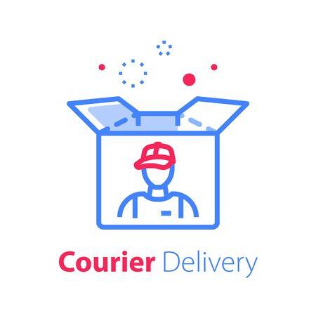 Entrega de mensajería, caja abierta, diseño lineal, recibir paquete, servicio de distribución, icono de línea vectorial