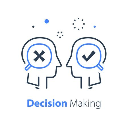 Decision making under uncertainty, choice fork, mental trap, logical solution, critical thinking, psychology or psychiatry concept, vector line illustration Çizim