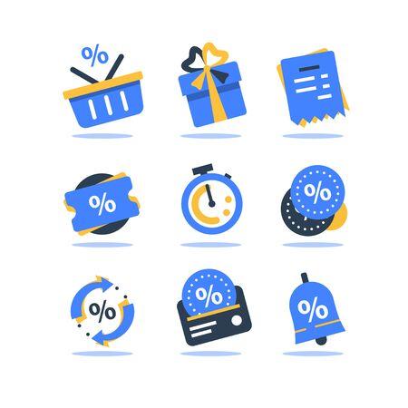 Treuekarte, Incentive-Programm-Vektor-Icon-Set, Bonuspunkte für den Kauf verdienen, Rabattgutschein, begrenzter Zeitraum, Cashback, Geschenk einlösen, Einkaufskorb und Stoppuhr, günstiges Angebot, Geld sparen