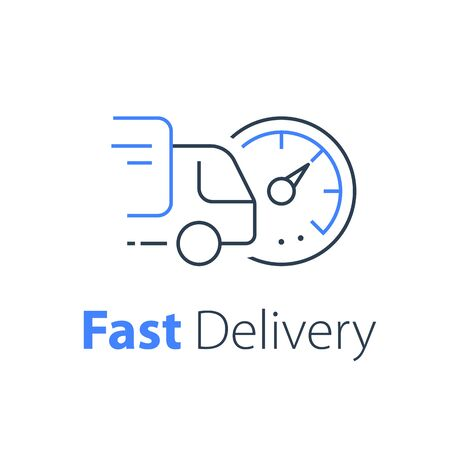 Truck delivery, distribution services, logistics solution, transportation company, fast order shipping, express sending, vector thin line icon Ilustrace