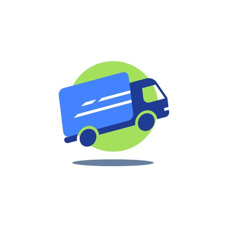 Delivery truck, fast courier services, logistics company, express shipment, vector flat icon