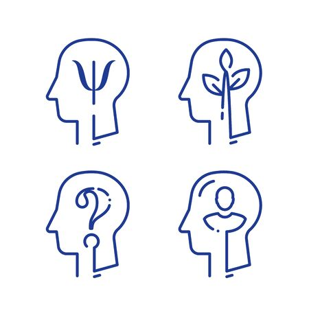 Human head profile and psychology symbol, mental health, help and development, consulting and guidance, vector line icon set Ilustrace