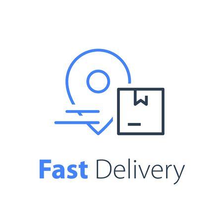 Concept de livraison, services de distribution, solution logistique, entreprise de transport, expédition rapide des commandes, envoi express, icône de fine ligne vectorielle