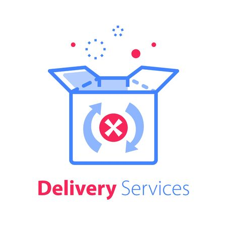 Delivery error, linear design, receive messed up shopping order, send back purchase, return mail box, fast exchange, damaged parcel replacement, vector line icon Illustration