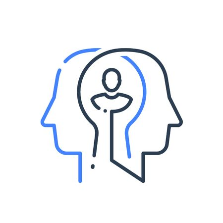 Human head profile line icon, cognitive psychology or psychotherapy concept, self esteem or confidence, mental health, personality disorder or schizophrenia, vector linear design Ilustrace