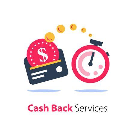 Programma di rimborso, servizi finanziari, prestito veloce, pagamento con carta di credito, icona piatta cronometro, il tempo è denaro, icona piatta vettoriale