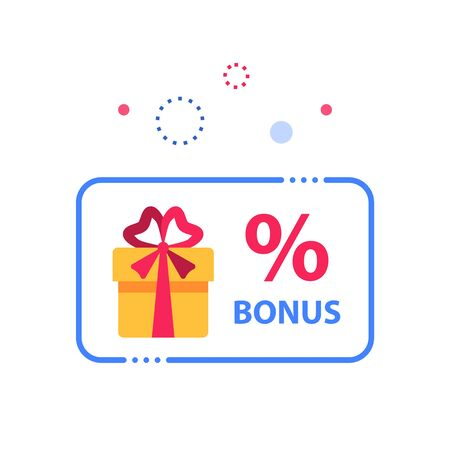 Prize giveaway, loyalty card, present box, percentage sign and gift certificate, incentive or perks, bonus program, discount coupon, vector flat design illustration