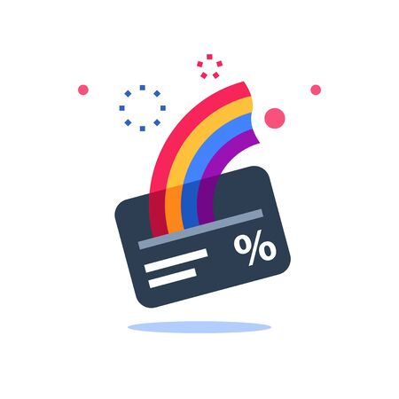 Cash back card, loyalty program, earn points, more money, perks concept, fast loan, vector flat icon