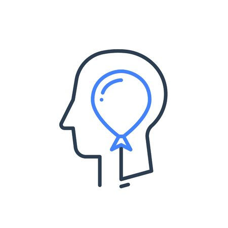 Human head profile and balloon line icon, cognitive psychology or psychiatry concept, self esteem or ego, inner calm or mental balance, immature character, vector linear design