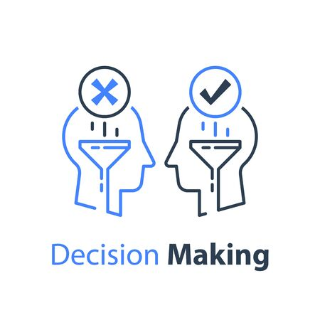 Decision making, negotiation or persuasion, common ground, opinion poll or sociology, mindset or bias, two heads, logic or reason, critical thinking, vector line illustration