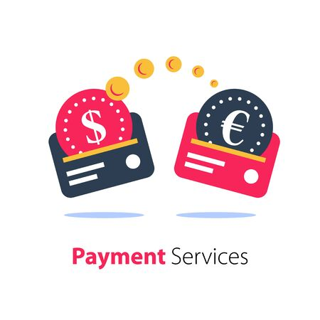 Card to card transaction, sending money services, currency exchange, fast cash loan, credit payment, business and finance solution, vector flat icon